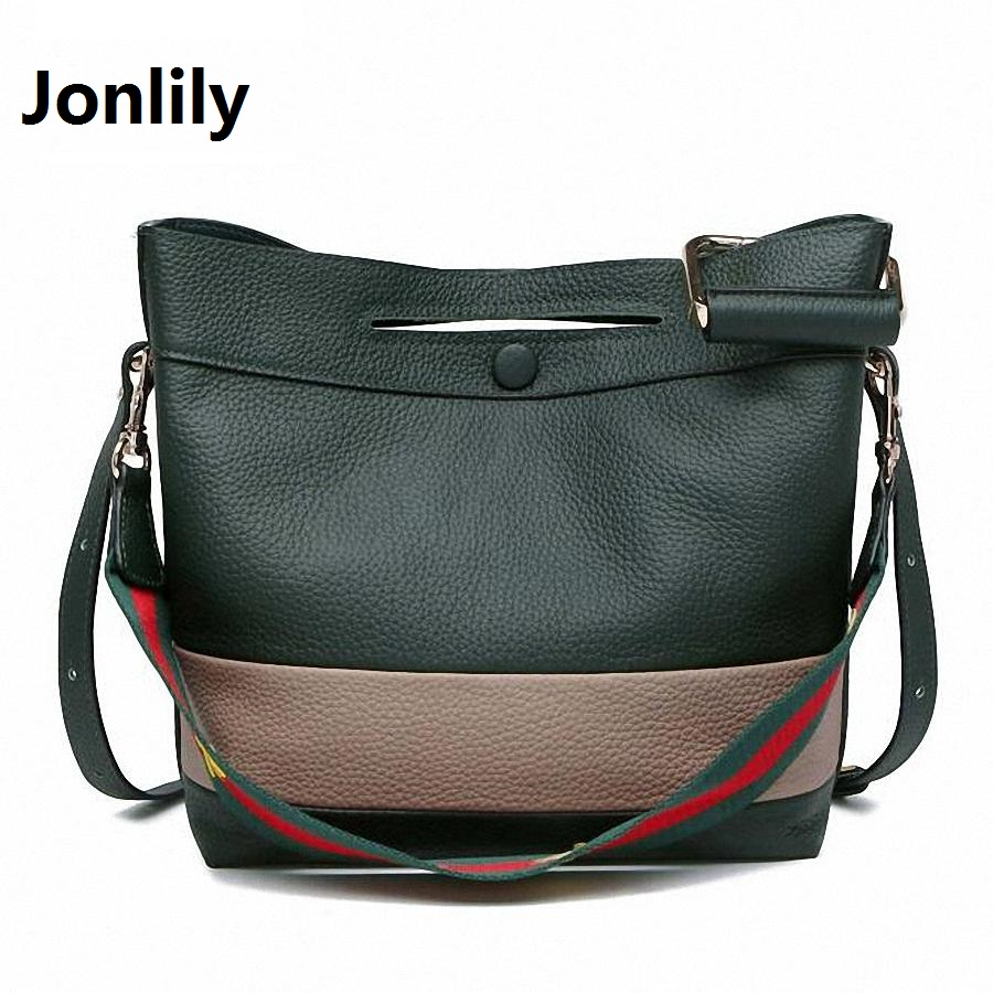Фотография Jonlily Fashion 100% Real Genuine Leather OL Style Women striped Handbag Tote Bag Ladies Shoulder Bags Wholesale price-SLI-183