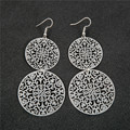 woman Retro Silver Plated Copper Circle drop Earrings Hollow Leaf Butterfly Long Tassel Earrings Crystal Jewelry Gift Pendientes