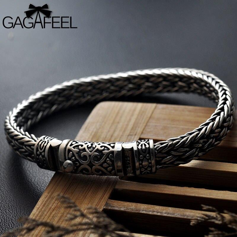 GAGAFEEL 925 100% серебряные браслеты ширина 8 мм Классический провод-кабель звено цепи S925 тайские серебряные браслеты для женщин Мужчины ювелирны...