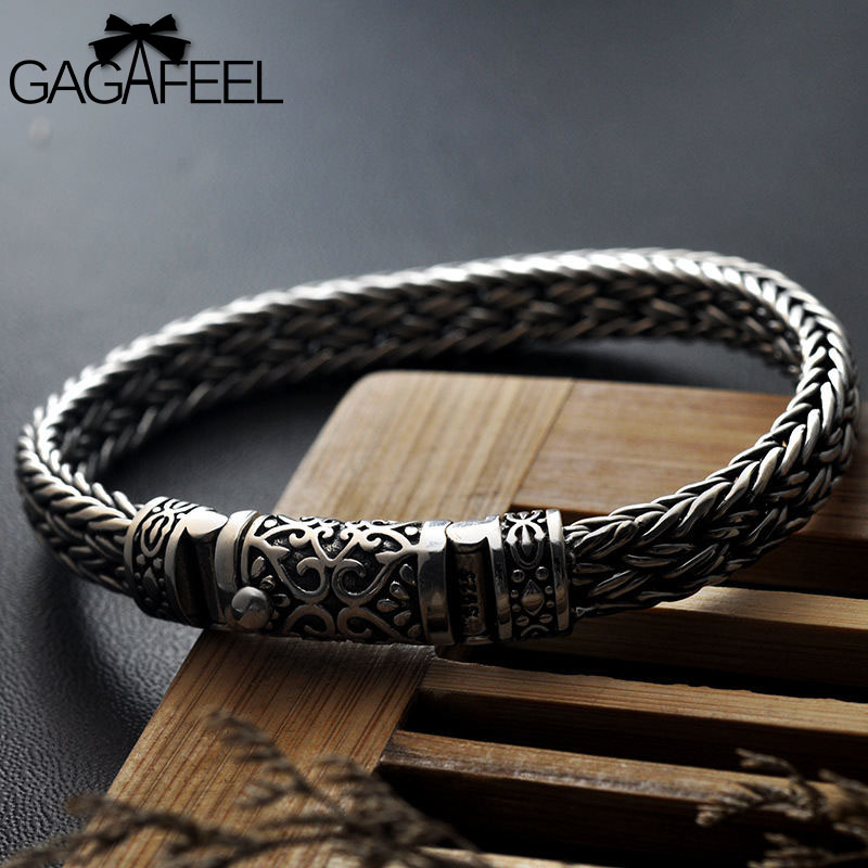 GAGAFEEL 100% 925 Silver Bracelets Width 8mm Classic Wire cable Link Chain S925 Thai Silver Bracelets for Women Men Jewelry Gift