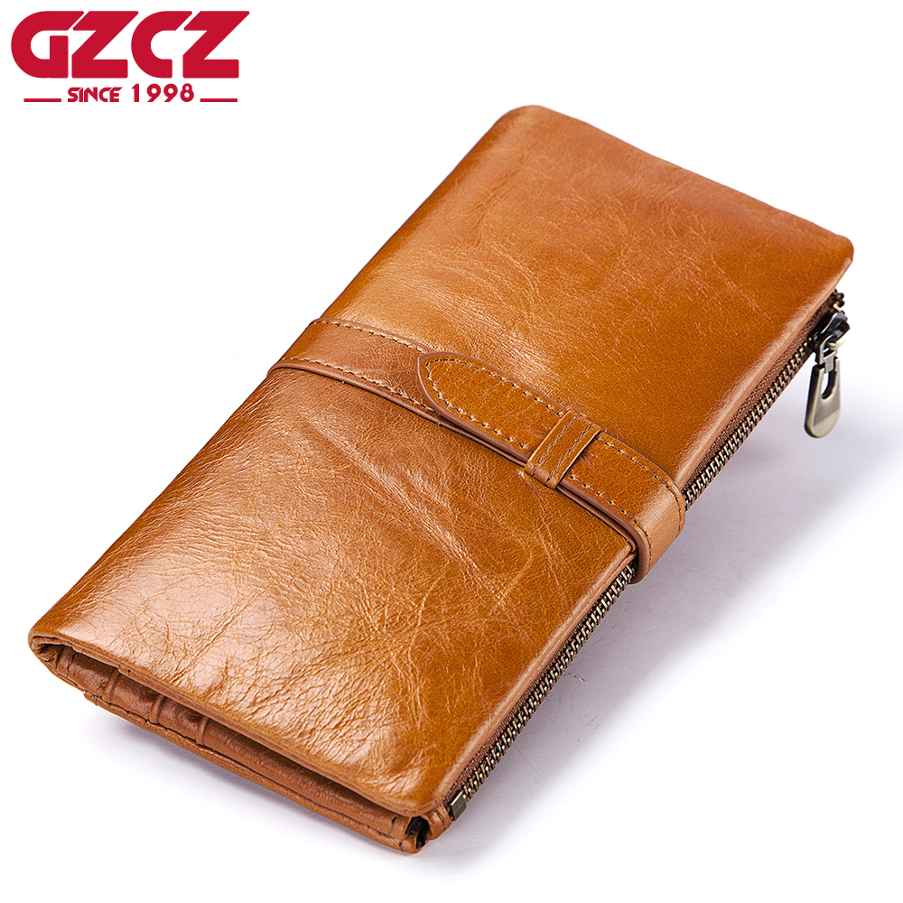 bca6c730c7a7 GZCZ Women Wallet 100% Top Genuine Cowhide Leather Long Bifold Wallets Purse  Vintage Designer Coin Purse Kashelek Female Walet