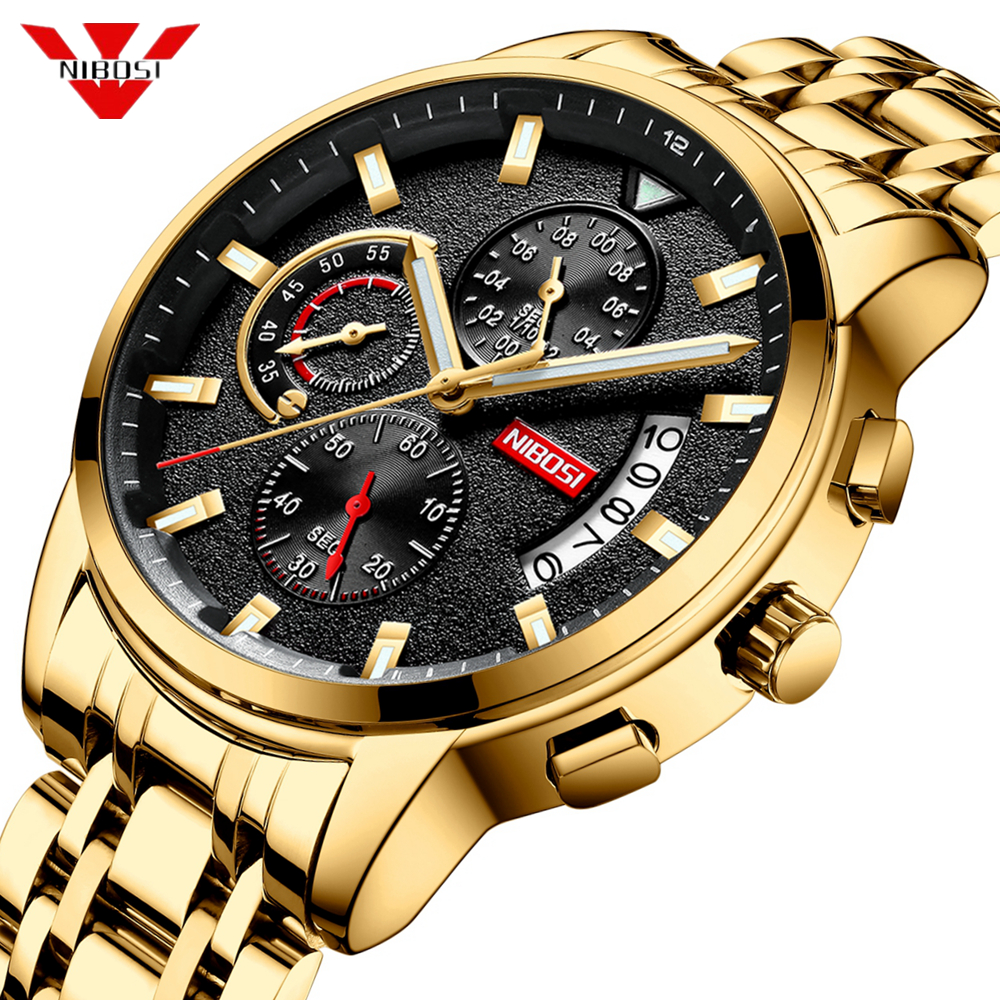 NIBOSI New Brand Quartz Watch Men Sport Watches Men Steel Band Military Clock Waterproof Gold Wrist Mens Watch Relogio Masculino
