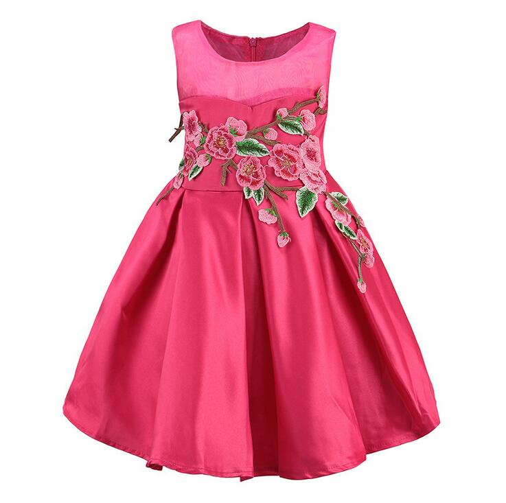 Baby Girls Clothes Sleeveless Embroidery Appliques Dress Children Lolita Style Summer Princess Flower Floral Clothing 6pcs/LOT