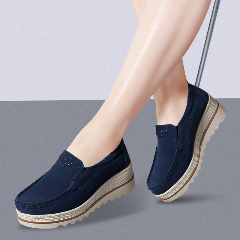 Suede     Leather   Women Platform Sneakers Slip Ons Flats Woman Shoes Thick Heel Ladies Casual Shoes Outdoor Flat Moccasins Brown 42