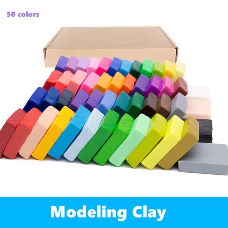 50 Pcs DIY  Fimo Polymer Clay Baking Hand Casting Kit Puzzle Modeling Baby Handprint Slime Slimes Lizun Fun Toys For Children
