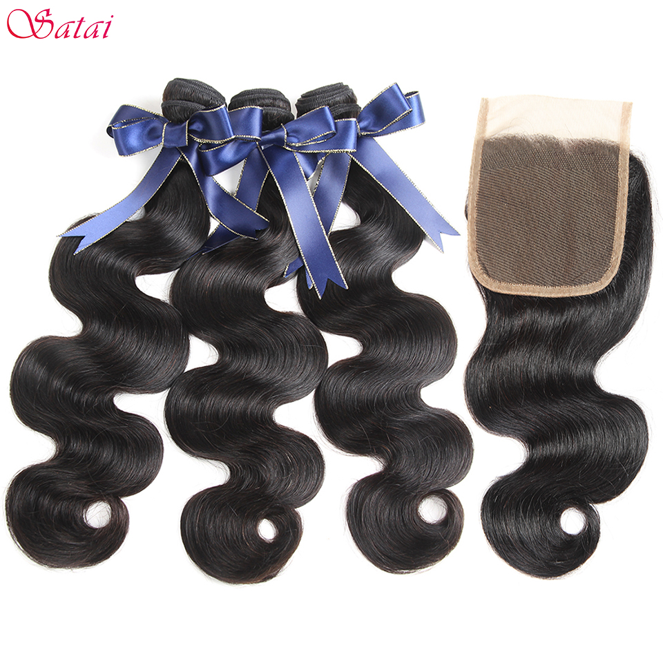 Satai Brazilian Hair Body Wave Human Hair Bundles With Closure Natural Color 3 Bundles With Closure Remy Hair Extension