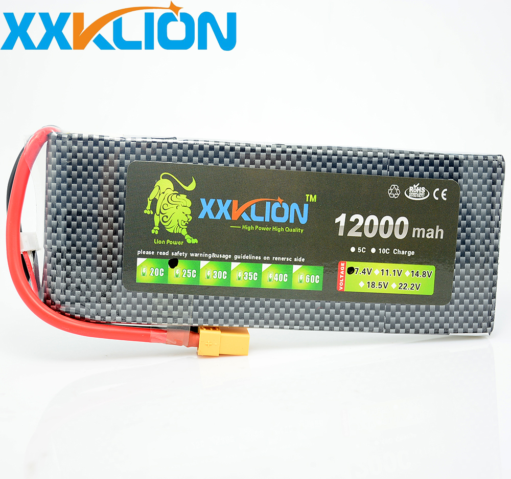 XXKLION drone Lipo battery pack 7.4v 12000mAh 25C 2S for rc airplane Aerial multi – axis unmanned aerial vehicle Free Shipping