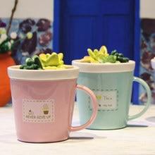 Creativa Suculentas Taza De Cerámica con Tapa de Estudiantes Amantes de la Taza de Café del Desayuno Taza de Leche Taza de Té