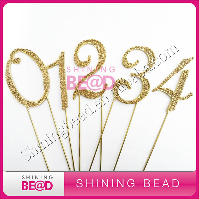 Free Shipping 7cm Gold Plating Gold Rhinestone Number Cake Topper