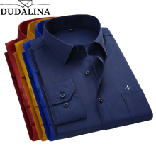 DUDALINA 2018 Men Shirt Plus Size Color Pocket Long Sleeved Classical Male Shirts Formal Business Shirt Man Embroidery Logo