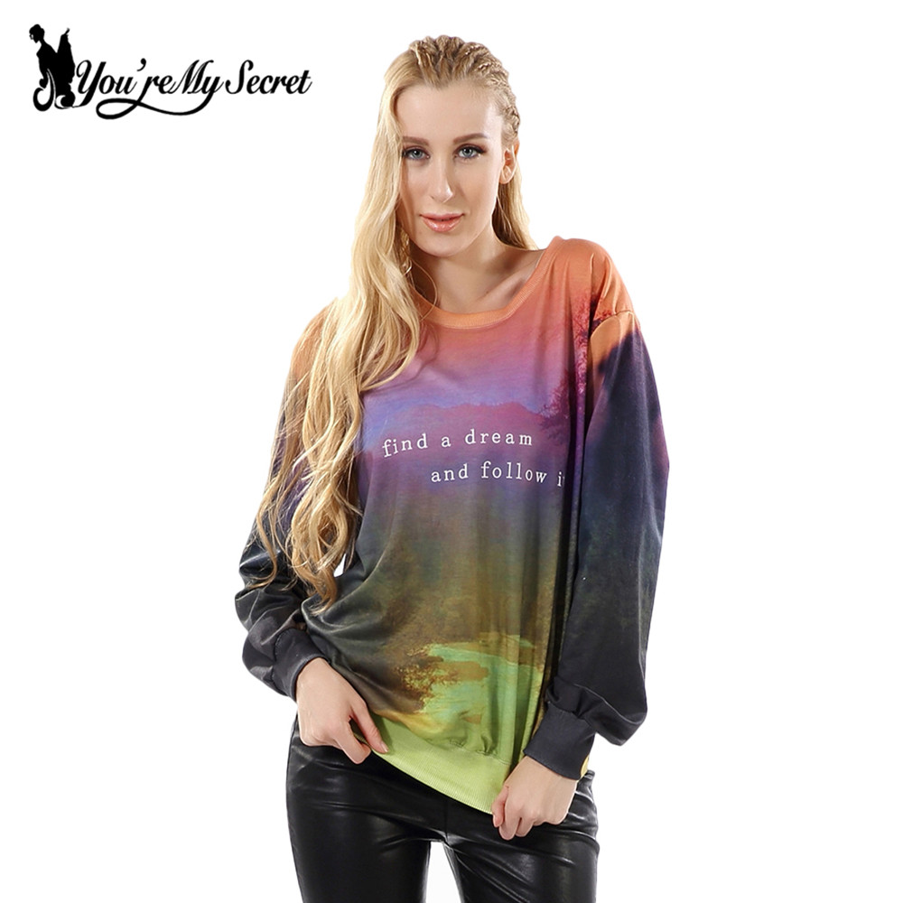 [Youre My Secret] 2017 New Autumn Winter Women Sweatshirt Letter Digital Print Casual Long-Sleeve O-Neck Hoodies WYL2041
