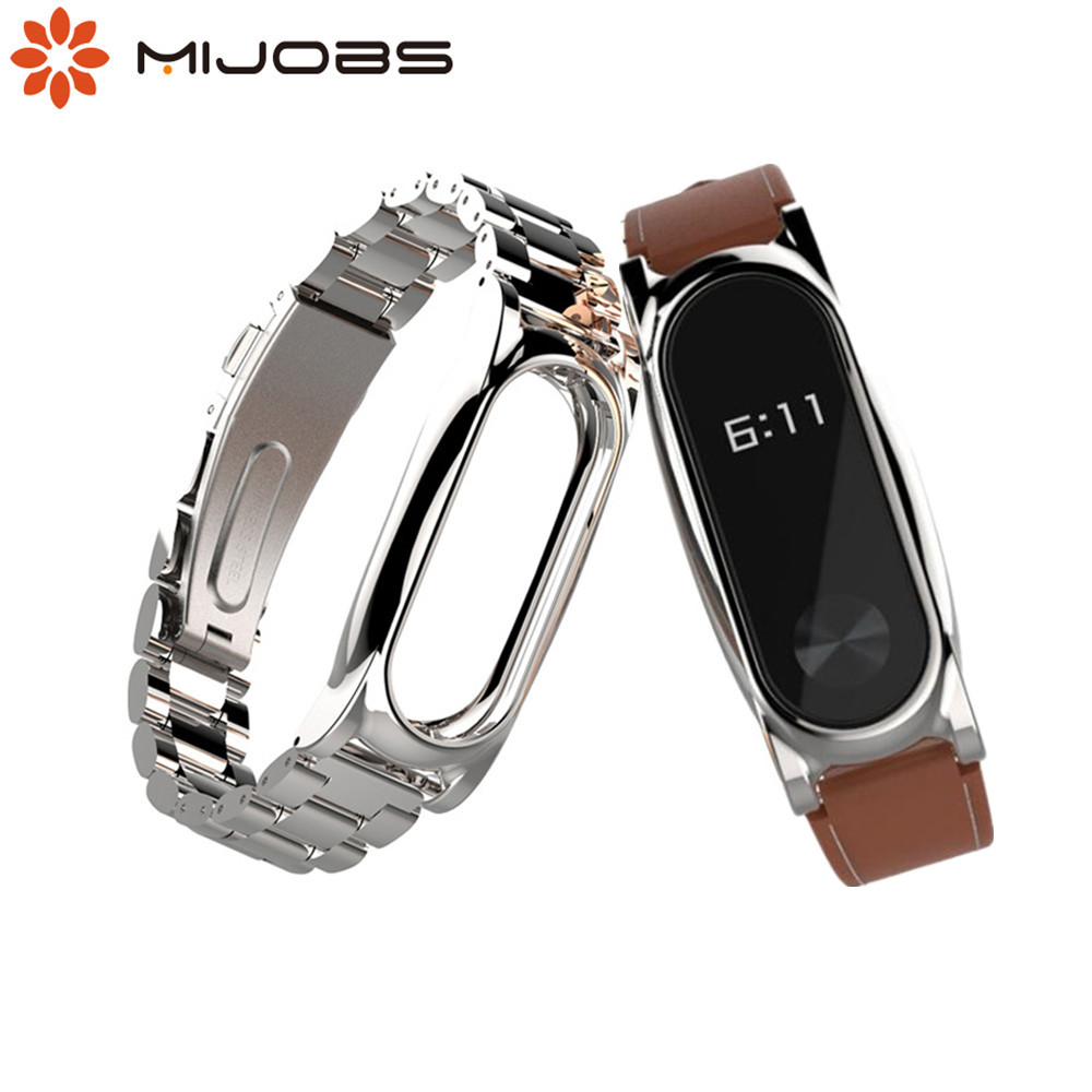 Mijobs Metal Strap For Xiaomi Mi Band 2 Straps Stainless Steel Bracelet leather Smart Band Replace Accessories For Mi Band 2