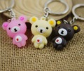 care bears keychain cute key ring for women flexible glue cartoon key chain creative portachiavi chaveiro llaveros souvenir