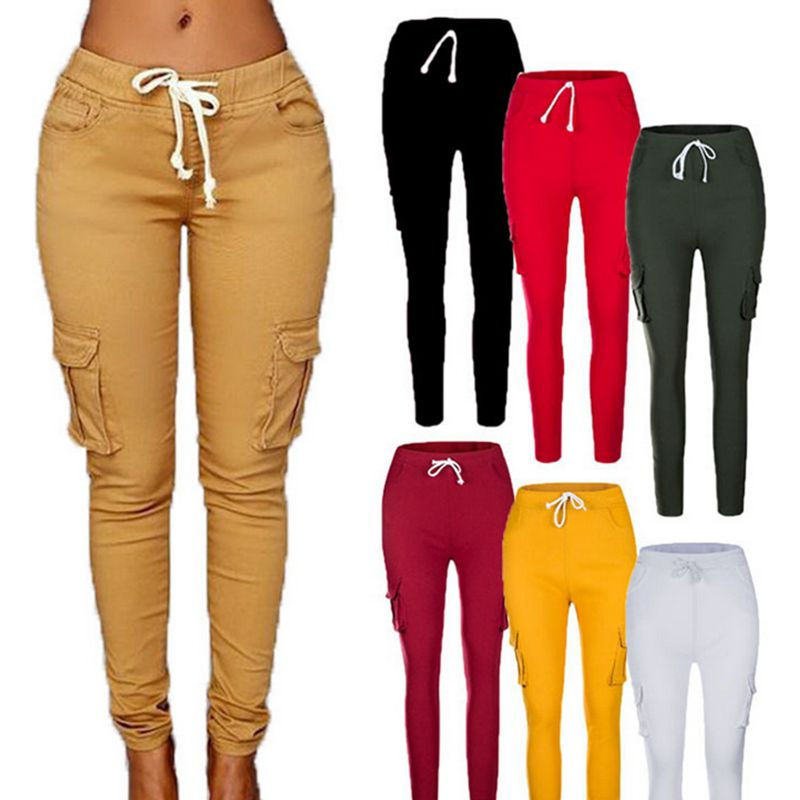 COLAFE Plus Size Pants Women 2019 New  Casual Skinny Pencil Pants Female Waist Drawstring Fahion  Green Trousers 4XL