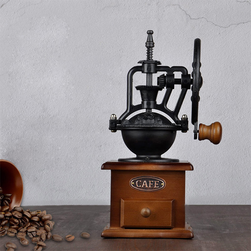 Manual Coffee Grinder Ferris Wheel Design Vintage With Portable Ceramic Movement Retro Wooden Coffee Mill For Home Decoration