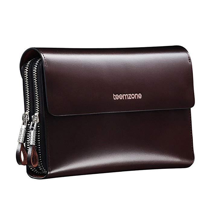Teemzone - Hot Sell Genuine Leather Men's Clutch Wallet Hasp Zipper Closure Smooth Carteras Designer Male Portofolio J25