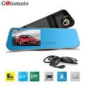 Gotomato Dual Lens 4.3 Inch Full HD 1080P Car Rearview Mirror DVR Dash Cam Night Vision Car DVR Dual Camera Video Recorder