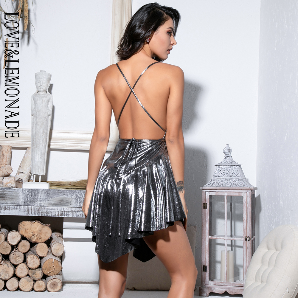 LOVE&LEMONADE Sexy Silver Deep V-Neck Open Back High Waist Playsuit LM81380-1