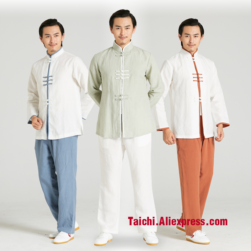 martial art Tai chi  uniform  Taiji   Wudang men 's traditional Chinese clothing cotton linen men s yoga suits long sleeved taiji lay clothes plus size breathable meditation martial arts performance clothing