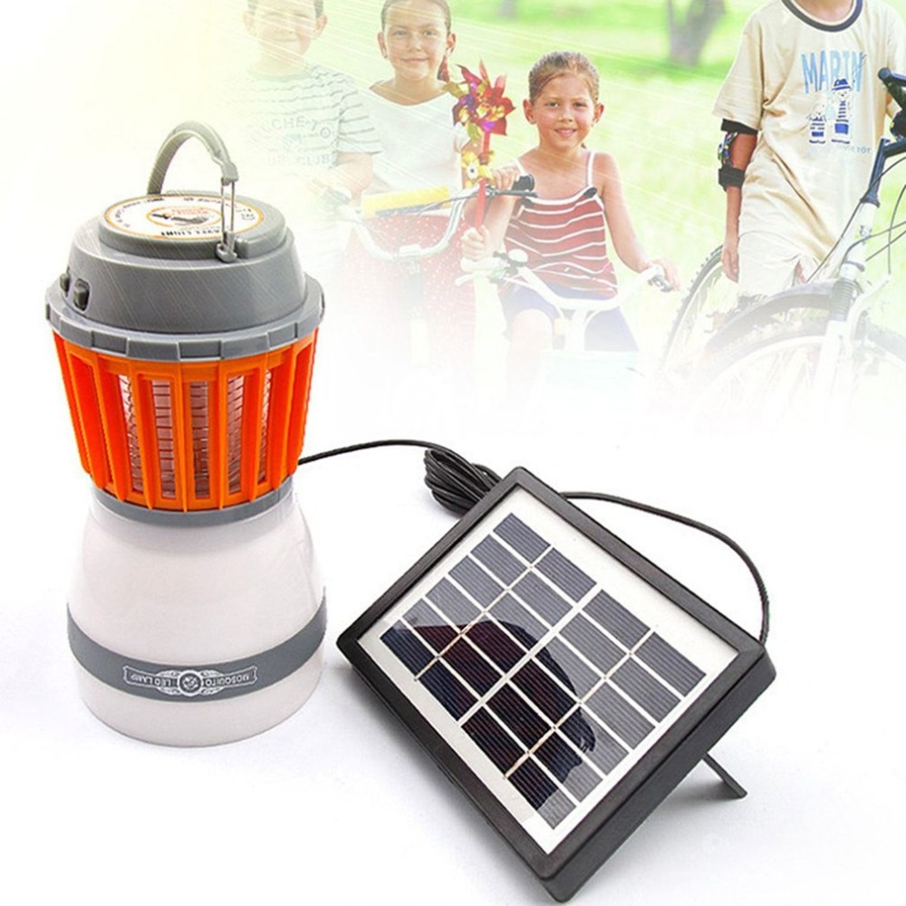 Portable LED Camping Light Mosquito Killer Lamp With Solar Panel USB Charging Pest Repeller Outdoor for Garden Hiking Home Use outdoor garden light led solar panel mosquito killer dual use lamp no radiation courtyard garden catch mosquito trap lighting