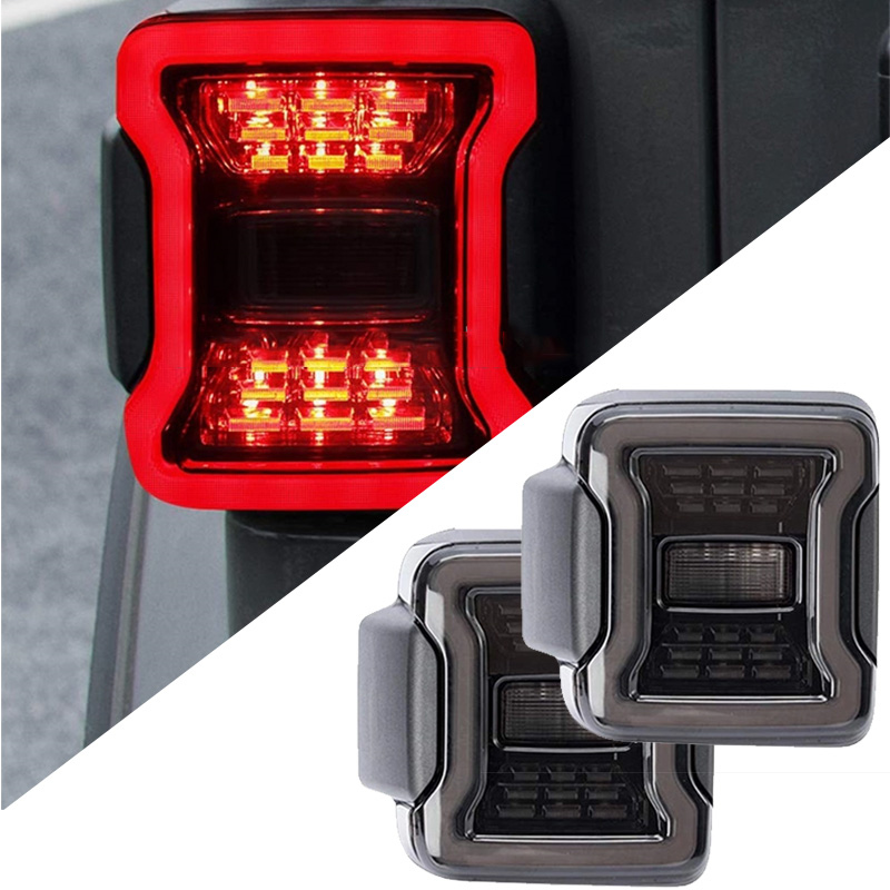 Date 12 V clignotant lumière fumée feu arrière LED pour Jeep JL wrangler US version JL 2018 2019 accessoires (2 pièces) en gros