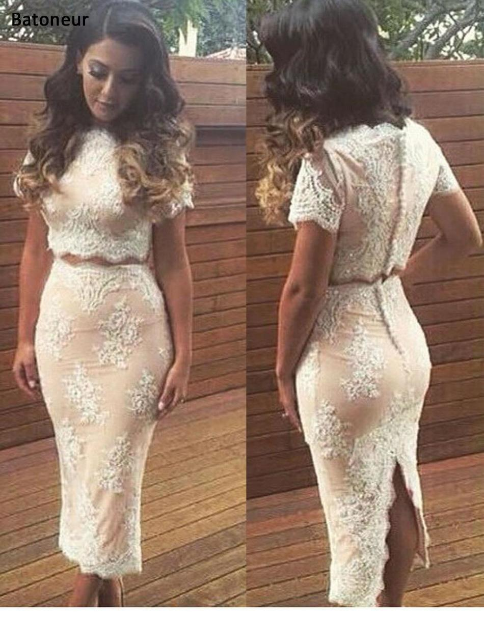 03aebced0741 2017 Sexy Women Two Piece Outfits White Bodycon Midi Casual Dresses Nude  Scalloped Woman Mid-Calf Sheath Lace Dress