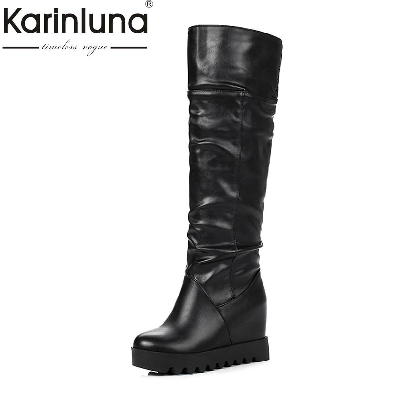 KARINLUNA 2018 Small Large Size 31 43 Black White Women Shoes Casual Platform Wedge Height Increasing