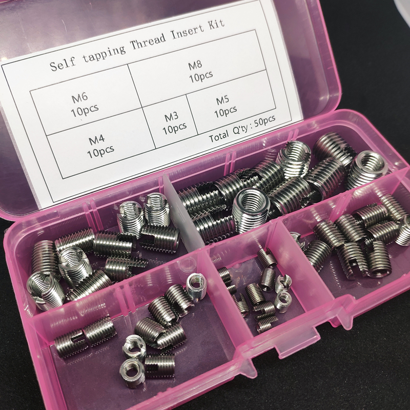 50pc/lot M3,M4,M5,M6,M8 Stainless Steel Self tapping Thread Insert Self Tapping Screw Bushing Slotted Type Thread Repair Inset 50pc/lot M3,M4,M5,M6,M8 Stainless Steel Self tapping Thread Insert Self Tapping Screw Bushing Slotted Type Thread Repair Inset
