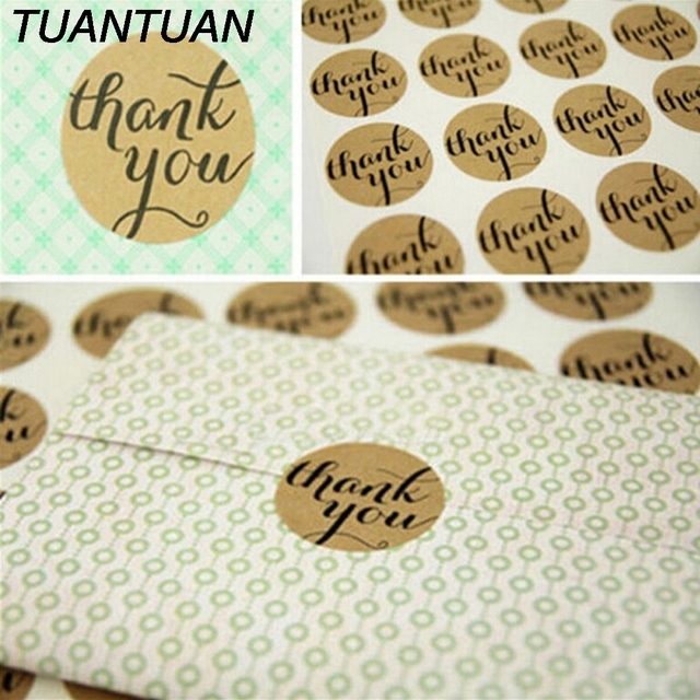 TUANTUAN 1 sheet Candy Paper Tags Self Adhesive Stickers Thank You Kraft  Label Sticker Diameter 3cm 078a359b2292