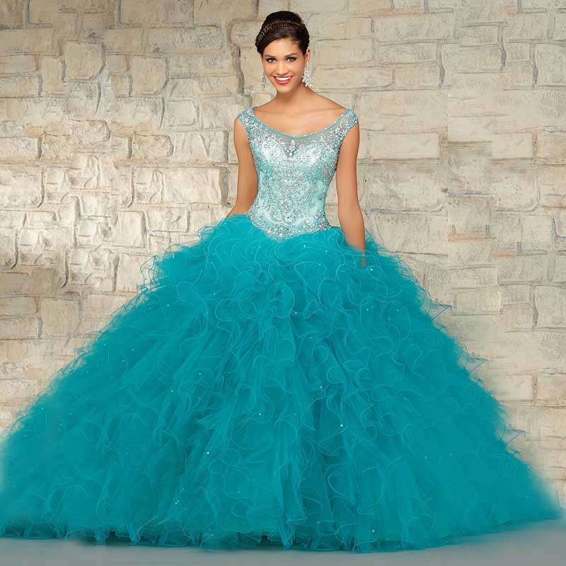 2016 Fabulous Design Organza Ball Gown Scoop Neck Cap Sleeves Long ...