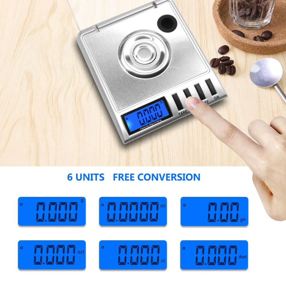 New 20g/0.001g High Precision Electronic Kitchen Scales Digital Food Scale Stainless Steel Weight Scale Measuring Tools