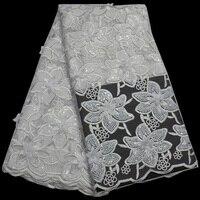 (5 mètres/pc) pur blanc de tulle Africain dentelle tissu brillant paillettes net dentelle tissu avec 3D fleur et perles pour partie robe FLP143