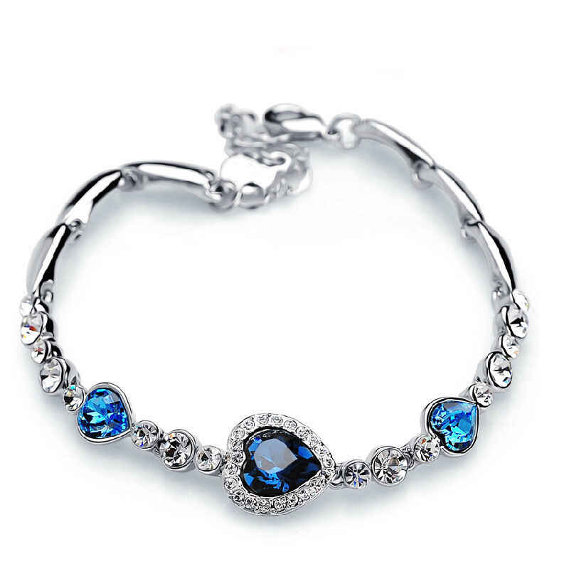 1 pc fashion Heart Bangle Bracelet Gift New Fashion Women Ocean Blue Crystal Rhinestone fine jewelry New