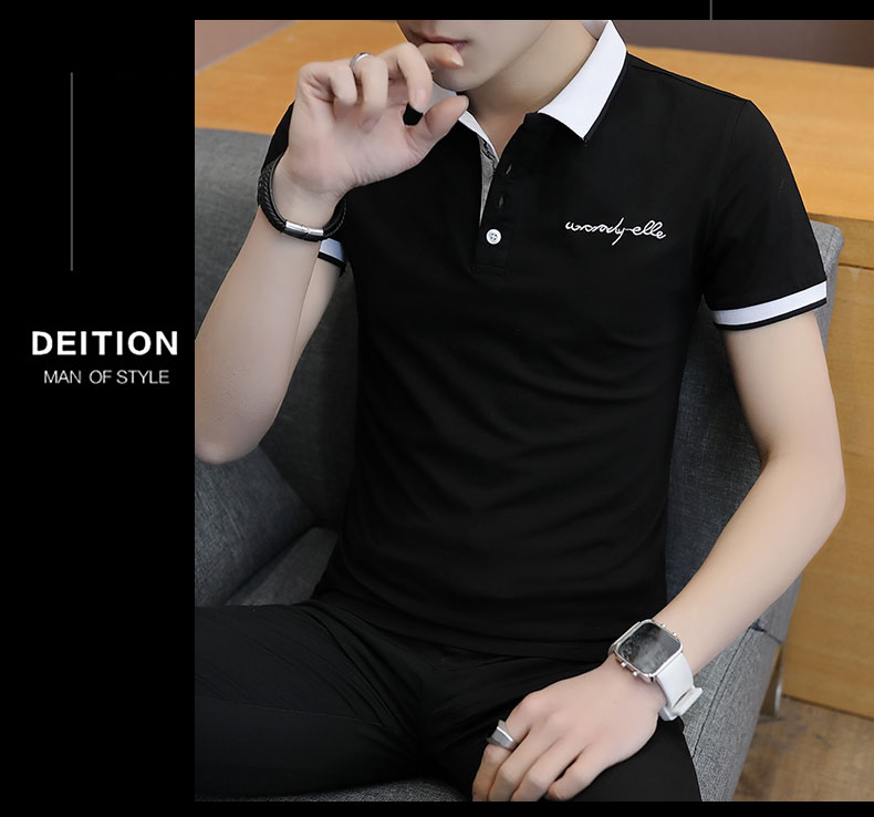 Short-sleeved T-shirt men's fashion casual cotton clothes decorated with multi-color optional 95