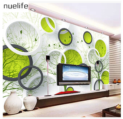 Cheap modern simple large fresco 3d dream green tree for Cheap living room wallpaper