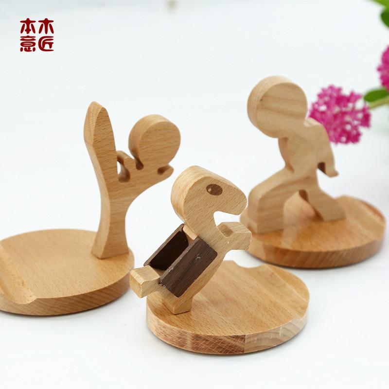 Creative Wooden Cellphone Support Shelf Solid Wood Phone Pedestal Beech Mobile Phone Bracket