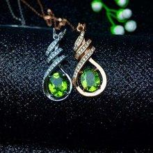 SHILOVEM 925 silver natural green peridot send pendant  necklace classic wholesale Fine jewelry women new gift  lz0709agg недорого