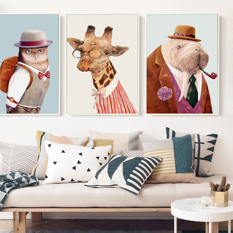 Watercolor Hand Drawn Fashion Animal Hedgehog Hippo Cat A4 Wall Art Canvas Painting Picture Print Poster Home Room Decoration