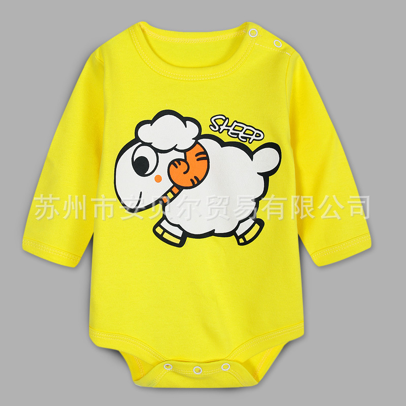 2017 Spring Summer Baby Romper Long Sleeve Cotton Boys Girls Cartoon Rompers 0-12months Baby Clothes Jumpsuits Wholesale Retail new baby rompers long sleeve coveralls cute v neck baby clothes solid cotton infant romper spring autumn boys girls jumpsuits