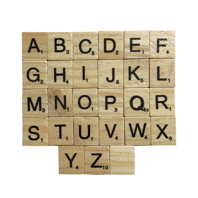 100 Pcs Lovely Wooden Alphabet Scrabble Tiles Black Letters Numbers Crafts Figurines