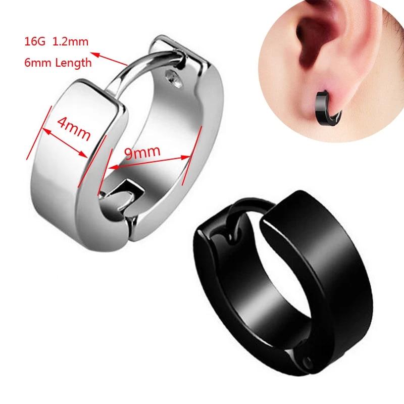 Punk Stainless Steel Hoop Earrings Huggie GD Boys Earrings Circle Earrings EA