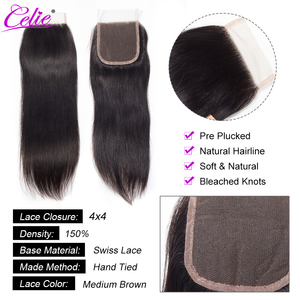Image 3 - Celie Straight Human Hair Bundles With Closure 3 Bundles With Closure Remy Brazilian Straight Hair Bundles With Closure
