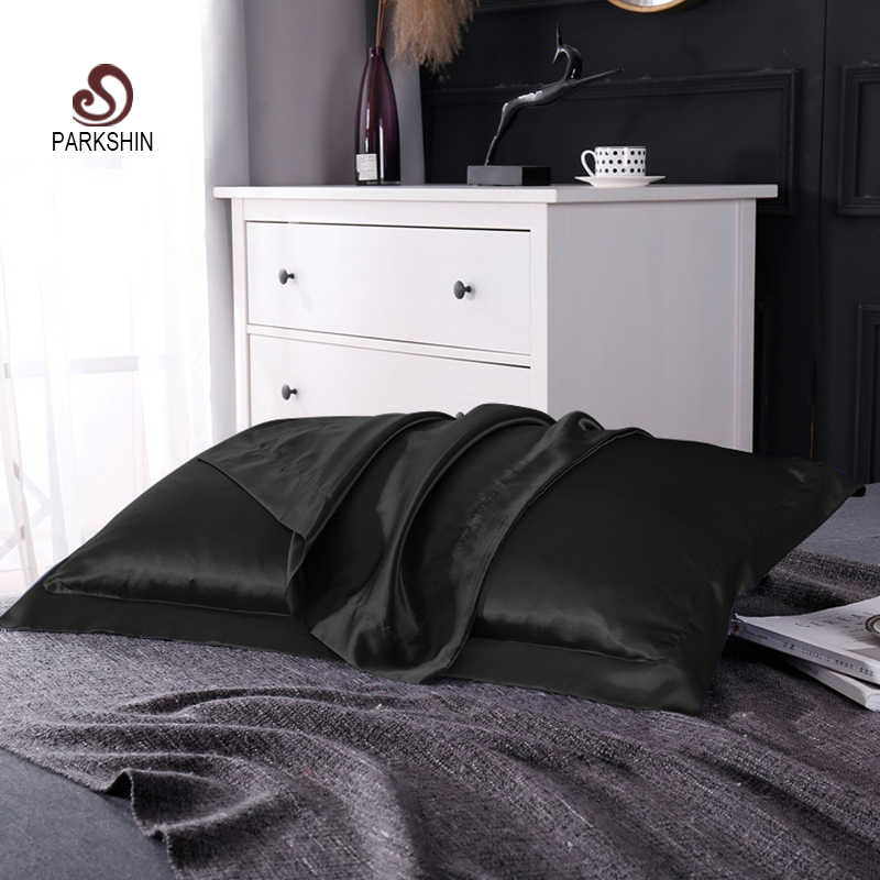 Parkshin 100% Pure Satin Silk Black 48X74CM Size Healthy Pillow Case Throw Pillow Cover Home Textiles Bedding Pillowcase