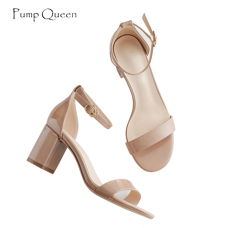 PumpQueen Word buckle New Summer Sandals Women Wedding Fashion Shoes Buckle Strap Zapatos Sandalias Woman High Heel Sandals