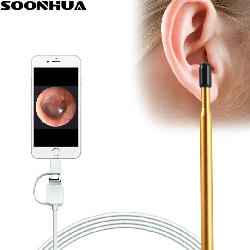Constructivo Soonhua 3 En 1 Usb Tipo-c Oído Limpieza Endoscopio Oído A Cuchara Limpiador Inspección Boroscopio Mini Cámara Para Pc Teléfono Android