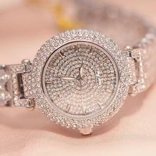 Nowy kobiety Rhinestone zegarki sukienka zegarki pełny kryształ diamentu kobiet zegarki luksusowe zegarki dla kobiet kwarcowe zegarki srebrny zegarki 2019 tanie tanio QUARTZ STOP ROUND 3Bar Hardlex Odporne na wodę 32mm Zapięcie bransolety 148001 16mm BS bee sister Luxury ru STAINLESS STEEL