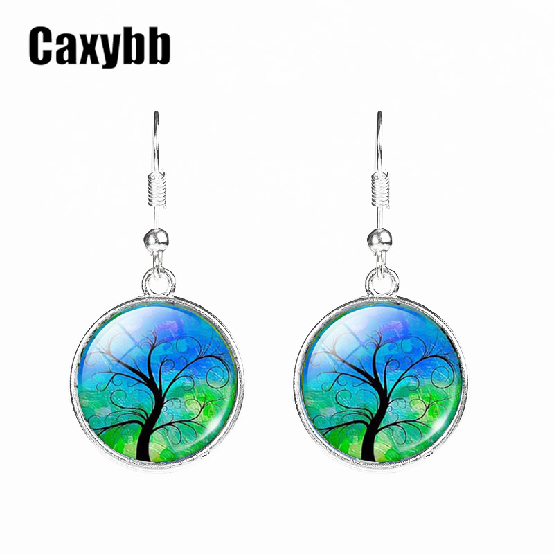 Caxybb New Colorful Tree Of Life Crystal Rhinestone Hangs Ear Drop Jewelery Fashion Drop Pedant Silver Silver Women Earring Hook