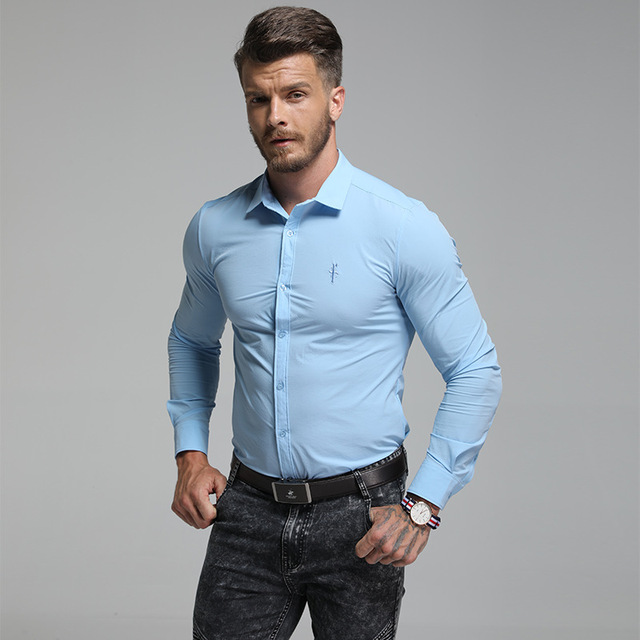 Smart Casual Business Men Shirt Slim Fit Long Sleeve Shirt Solid