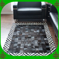 2018 free shipping 100% natural genuine cow leather washable rugs