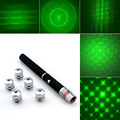 Powerful 6in1 5mw 532nm 650nm 405nm Red Green Blue Laser Pointer Pen Laser Flashlight + 5pcs Star Caps Beam Light ,Aperture